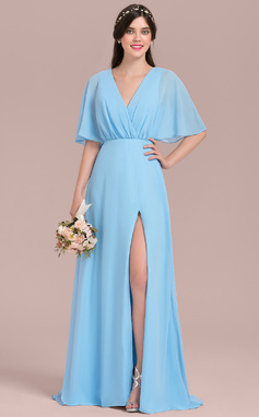 A-Line/Princess V-neck Floor-Length Chiffon Bridesmaid Dress With Bow(s) Split Front (007126426)