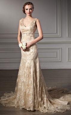 Trompete/Sereia Decote V Cauda longa Renda Vestido de noiva com Bordado (002000116)