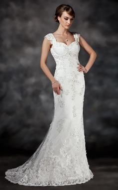 A sirena/Stile sirena A cuore Coda a strascico corto Tyll Abiti da sposa con Perline Di Appliques Pizzo (002017413)
