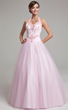 Duchesse-Linie Träger Bodenlang Tüll Quinceañera Kleid (Kleid für die Geburtstagsfeier) mit Perlen verziert Applikationen Spitze (021020615)