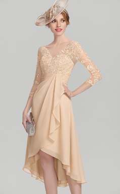 A-Line/Princess V-neck Asymmetrical Chiffon Lace Mother of the Bride Dress With Cascading Ruffles (008114261)