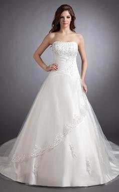 Платье для Балла возлюбленная Церковный шлейф Атлас Свадебные Платье с Кружева развальцовка (002011511)