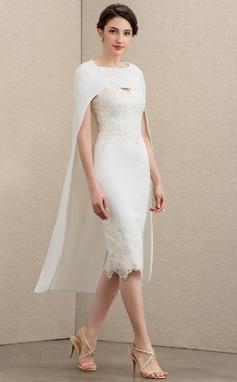 Etui-Linie Schatz Knielang Spitze Strech-Krepp Kleid für die Brautmutter mit Perlstickerei (008195393)