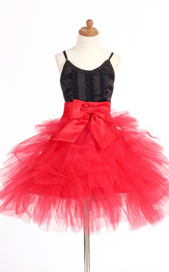 A-Line/Princess Short/Mini Flower Girl Dress - Satin/Tulle Sleeveless Straps With Lace/Bow(s) (010007668)