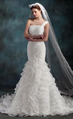 Trumpet/Mermaid One-Shoulder Chapel Train Organza Wedding Dress With Cascading Ruffles (002000623)