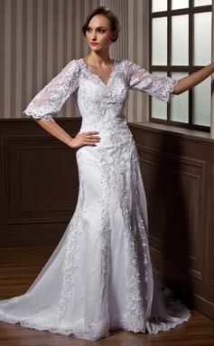 Трапеция/Принцесса V-образный Церемониальный шлейф Тюль Свадебные Платье с Бисер аппликации кружева (002011617)