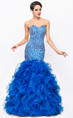 Trumpet/Mermaid Sweetheart Floor-Length Organza Satin Prom Dress With Beading Sequins (018056710)