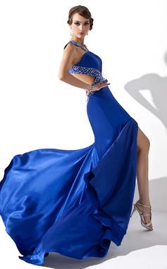 Corte A/Princesa Escote en V Barrer/Cepillo tren Charmeuse Vestido de baile de promoción con Cuentas Lentejuelas Apertura frontal (018005250)