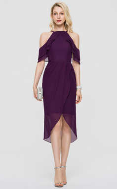 Платье-чехол квадратный вырез асимметричный шифон Коктейльные Платье (016197096)