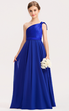 A-Line One-Shoulder Floor-Length Chiffon Charmeuse Junior Bridesmaid Dress With Ruffle (009191726)