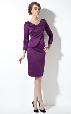 Sheath/Column V-neck Knee-Length Satin Mother of the Bride Dress (008006566)
