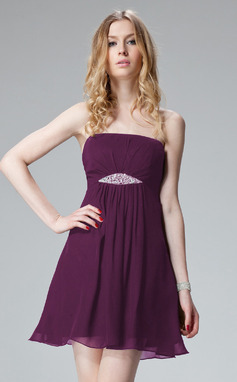 A-Line/Princess Strapless Short/Mini Chiffon Prom Dress With Ruffle Beading (018135097)