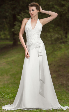 A-linjeformat Grimma Court släp Chiffong Bröllopsklänning med Rufsar Spetsar (002011786)