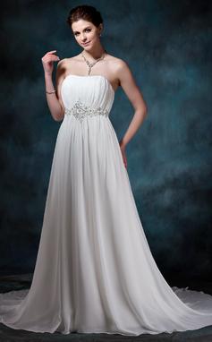 Forme Princesse Bustier en coeur Traîne moyenne Mousseline Robe de mariée avec Plissé Emperler Sequins (002004586)