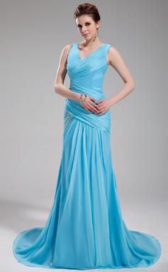 Vestidos princesa/ Formato A Decote V Cauda de sereia De chiffon Vestido de festa com Pregueado Bordado (017019735)