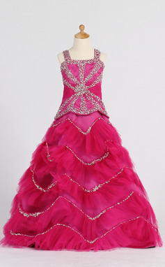 Ball Gown Floor-length Flower Girl Dress - Satin/Tulle Sleeveless Straps With Ruffles/Beading/Sequins (010007372)