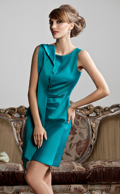 Sheath/Column Scoop Neck Short/Mini Satin Mother of the Bride Dress With Ruffle (008013811)
