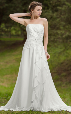 A-Line/Princess Sweetheart Chapel Train Chiffon Wedding Dress With Beading Appliques Lace Cascading Ruffles (002012058)