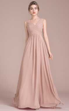 A-Line/Princess V-neck Floor-Length Chiffon Bridesmaid Dress With Ruffle (007105575)