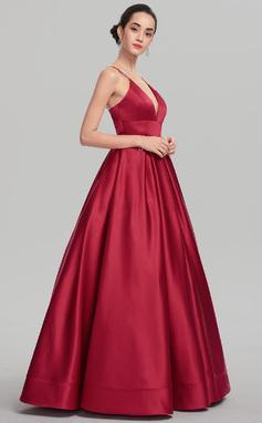 Ball-Gown V-neck Floor-Length Satin Prom Dress (018147708)