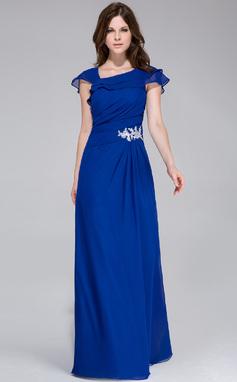 Vestidos princesa/ Formato A Longos De chiffon Vestido de festa com Apliques de Renda Babados em cascata (017028328)