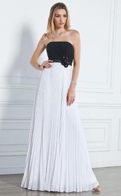 Corte A/Princesa Estrapless Hasta el suelo Chifón Vestido de baile de promoción con Bordado Flores Plisado (018020790)