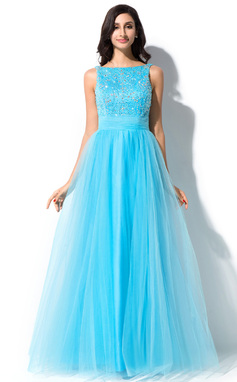 A-Line/Princess Scoop Neck Floor-Length Tulle Charmeuse Prom Dress With Lace Beading Sequins Bow(s) (018047986)