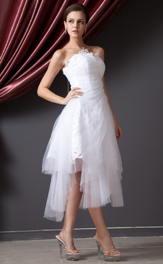 A-Line/Princess Strapless Asymmetrical Tulle Wedding Dress With Ruffle Lace (002014227)