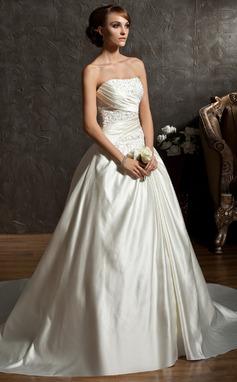 Duchesse-Linie Herzausschnitt Kapelle-schleppe Satin Brautkleid mit Rüschen Perlen verziert (002011522)