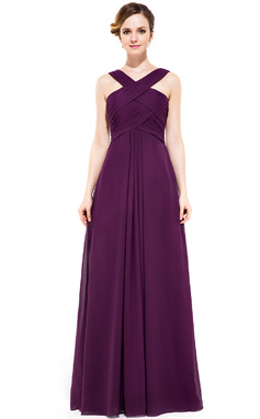 A-Line Y-neck Floor-length Chiffon Bridesmaid Dress (007051433)