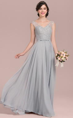A-Line/Princess V-neck Floor-Length Chiffon Lace Bridesmaid Dress With Bow(s) (007126432)