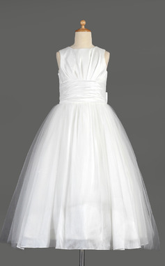 Empire Tea-length Flower Girl Dress - Taffeta/Tulle Sleeveless Scoop Neck With Bow(s) (010014642)
