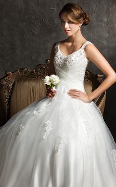 De baile Decote V Sweep/Brush trem Tule Vestido de noiva com Pregueado Bordado Apliques de Renda Lantejoulas (002008170)