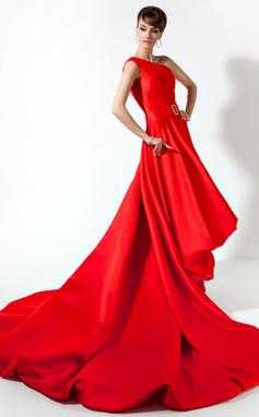 Corte A/Princesa Un sólo hombro Asimétrico Charmeuse Vestido de baile de promoción con Bordado (018020778)