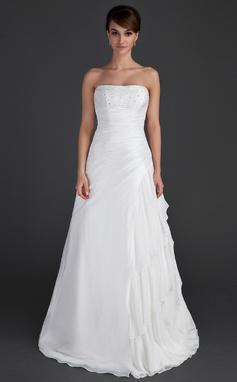 Vestidos princesa/ Formato A Sem Alças Longos Tafetá Vestido de noiva com Beading Babados em cascata (002012595)