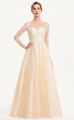 Трапеция Круглый Длина до пола Тюль Свадебные Платье (002207445)