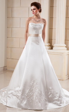 A-Line/Princess Sweetheart Cathedral Train Satin Wedding Dress With Embroidered Sash Beading Bow(s) (002000099)