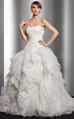 Forme Marquise Bustier en coeur Traîne moyenne Organza Robe de mariée avec Robe à volants (002014515)