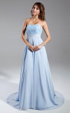 A-Line/Princess Strapless Chapel Train Chiffon Evening Dress With Ruffle Beading (017015326)