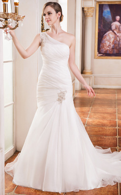 Trumpet/Mermaid One-Shoulder Chapel Train Organza Wedding Dress With Ruffle Beading Appliques Lace (002031875)