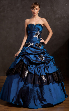 Ball-Gown Sweetheart Floor-Length Taffeta Prom Dress With Ruffle Beading Appliques Lace Flower(s) Sequins (018135352)