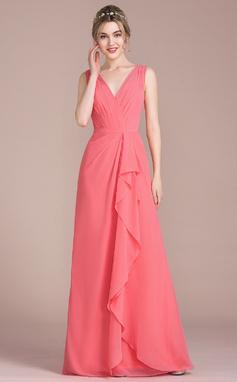 A-Line/Princess V-neck Floor-Length Chiffon Bridesmaid Dress With Cascading Ruffles (007104733)