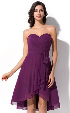 A-linjainen/Prinsessa Kullanmuru Epäsymmetrinen Sifonki Morsiusneitojen mekko jossa Rusetti Laskeutuva röyhelö (007050075)