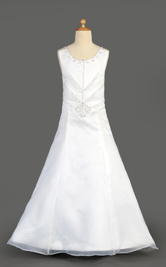 A-Line/Princess Floor-length Flower Girl Dress - Organza/Satin Sleeveless Scoop Neck With Beading/Sequins (010014647)