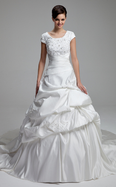 Ball-Gown Scoop Neck Cathedral Train Satin Wedding Dress With Lace Beading Sequins Bow(s) (002012761)