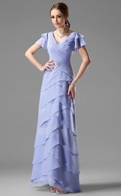 A-Line/Princess V-neck Floor-Length Chiffon Mother of the Bride Dress With Beading Cascading Ruffles (008002220)