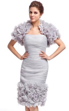 Vestido tubo Escote corazón Hasta la rodilla Organdí Baile de promoción con Volantes Flores (016025377)