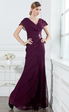 Vestidos princesa/ Formato A Decote V Longos De chiffon Vestido de Férias com Pregueado Bordado (020032263)