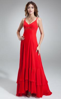 Vestidos princesa/ Formato A Decote V Assimétrico De chiffon Vestido de madrinha com Bordado (007000912)