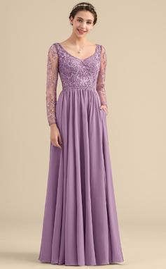 Vestidos princesa/ Formato A Decote V Longos Tecido de seda Renda Vestido de madrinha com Beading Bolsos (007153310)